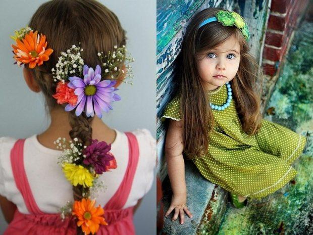 модные стрижки для девочек: простая коса с украшением распущенный волос