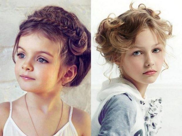 прически для девочек: оригинальные собранные волосы с локонами