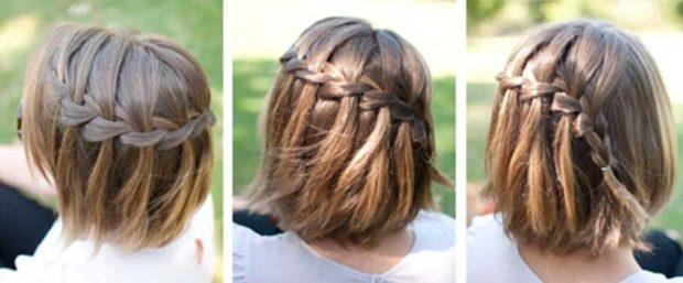 модная стрижка девочке: коса на стрижку каре вокруг головы