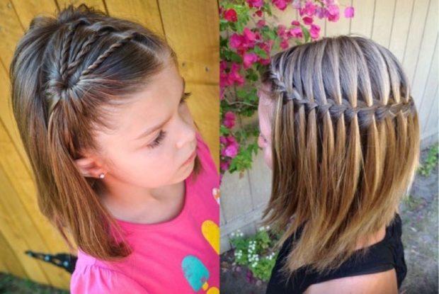 прически для девочек: тонкие косички с распущенными волосами