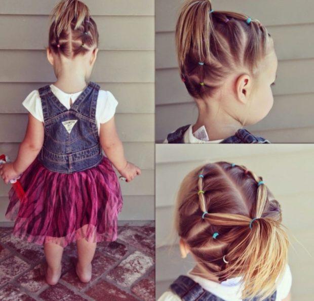 модная стрижка девочке: жгут с хвостиком
