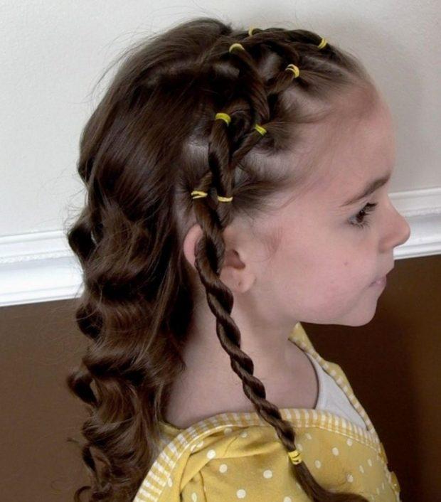 модная стрижка девочке: жгут с локонами по всей длине