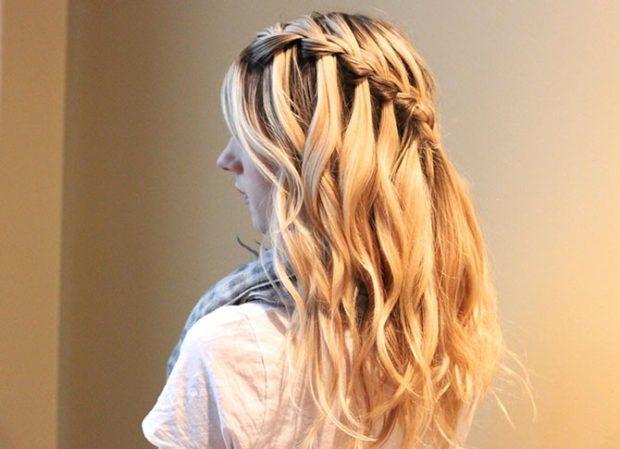 модная стрижка девочке: французский водопад на косую