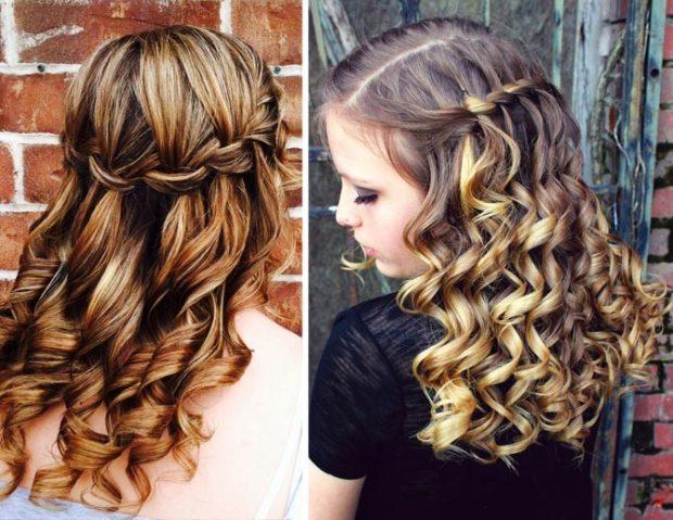 модная стрижка девочке: французский водопад с красивыми локонами по всей длине волос
