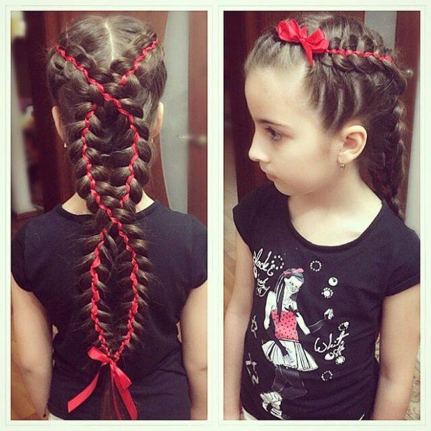 модная стрижка девочке: коса длинная с лентой красной