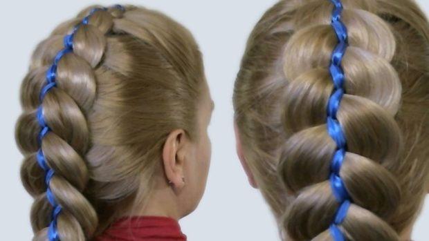 модная стрижка девочке: синяя лента вплетенная в косу