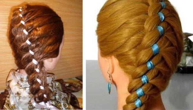 модная стрижка девочке: косы с лентами белой синей