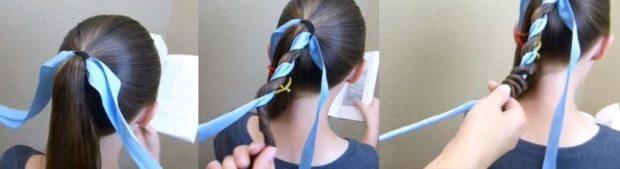 модная стрижка девочке: схема плетения косы с лентой