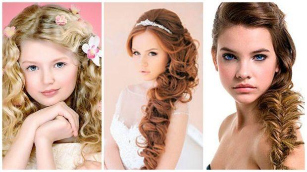 прически для девочек: красивые локона пышные косы