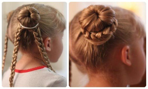 модная стрижка девочке: две гульки вниз косички