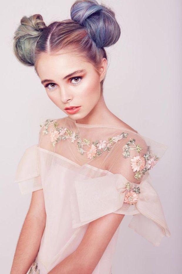 модная стрижка девочке: две гульки