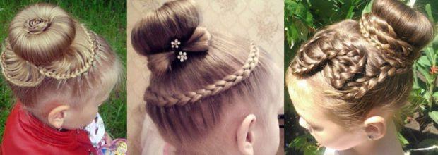 модная стрижка девочке: гульки с косами