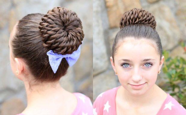 модная стрижка девочке: гулька украшенная бантиком