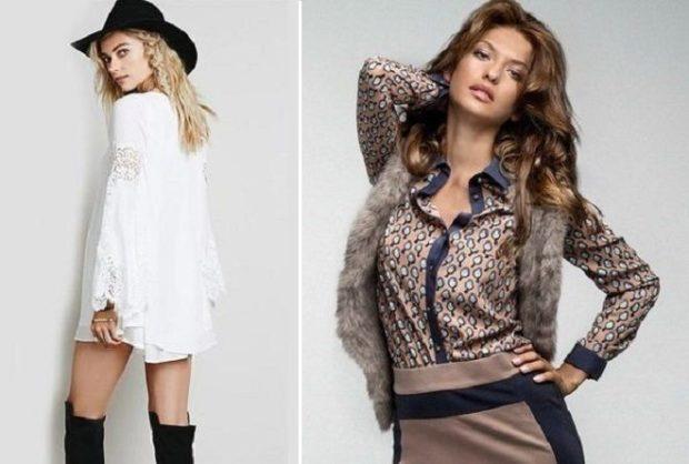 рубашки женские стильные 2018-2019: удлиненная белая принт