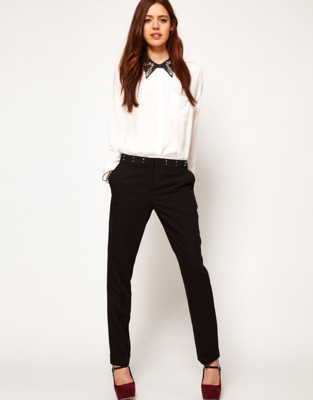 рубашки женские стильные 2018-2019: белая с черным воротником