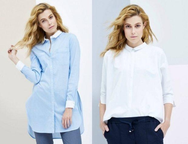 стильные женские рубашки 2021: голубого цвета и белая