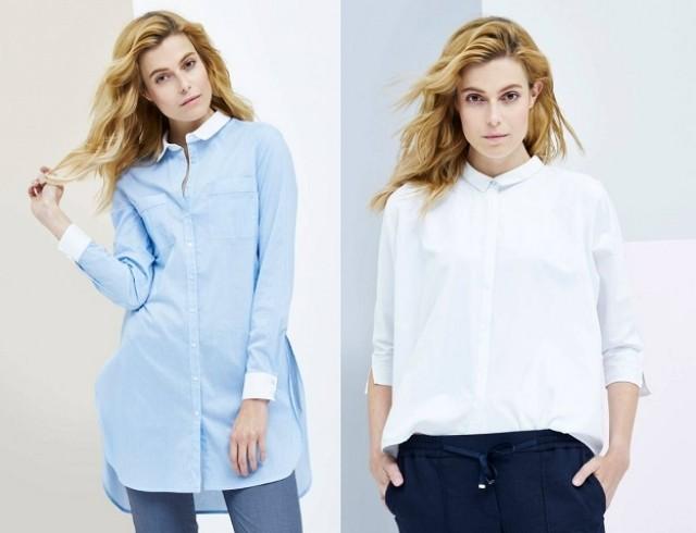 рубашки женские стильные 2018: голубого цвета и белая