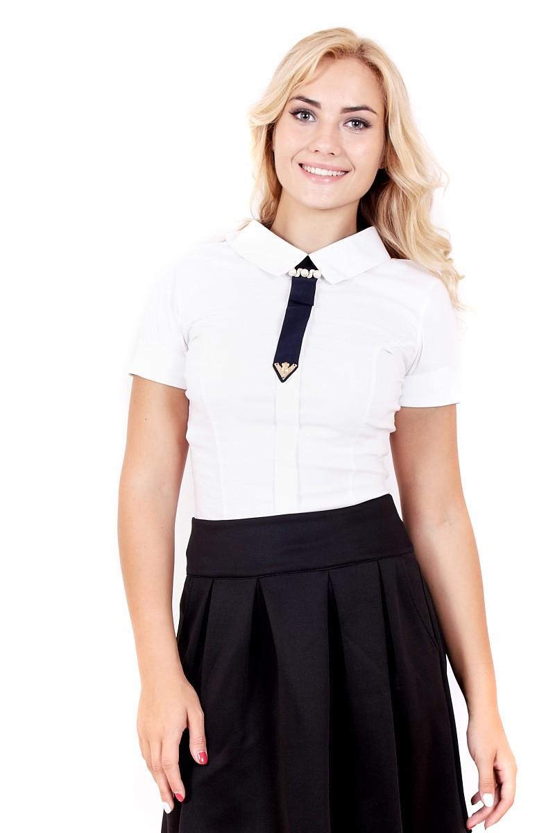 рубашки женские 2018 года модные: белая с мини галстуком