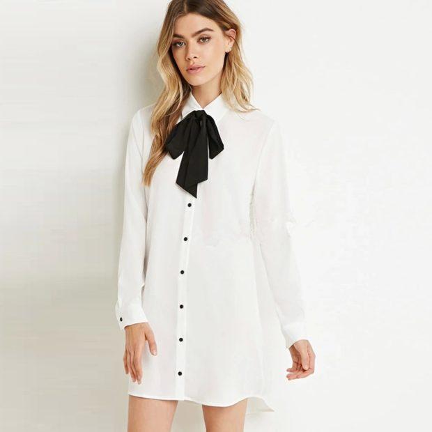 женские рубашки стильные 2019-2020: белая длинная с черным бантом