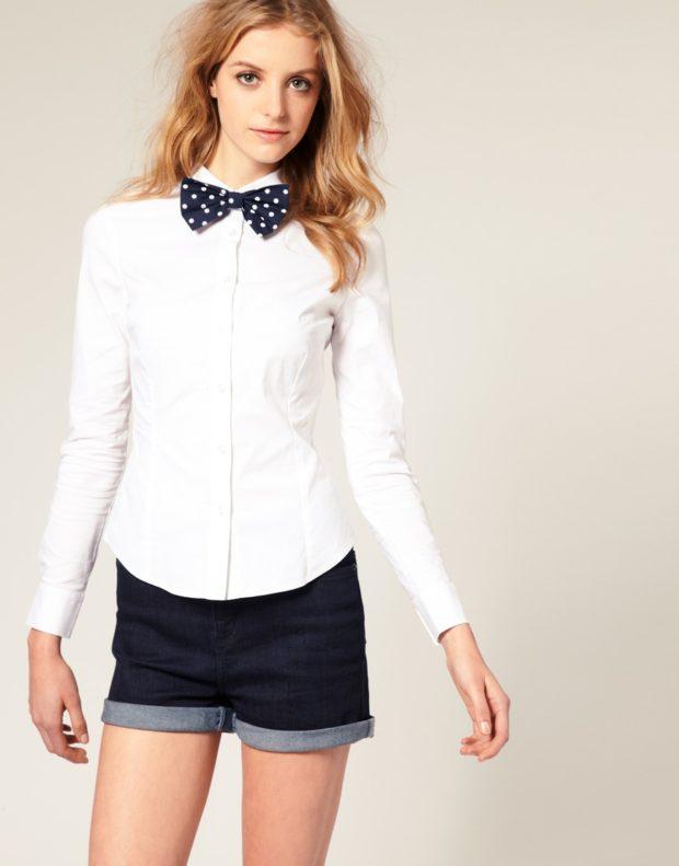 рубашки женские стильные 2018-2019: белая с черным бантом