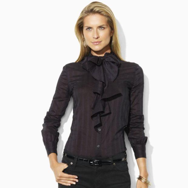 рубашки женские стильные 2018-2019: черная с рюшами