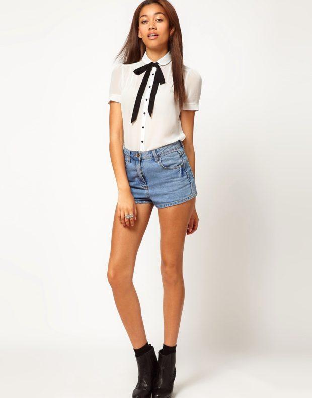 рубашки женские стильные 2018-2019: белая с короткими рукавами с лентой
