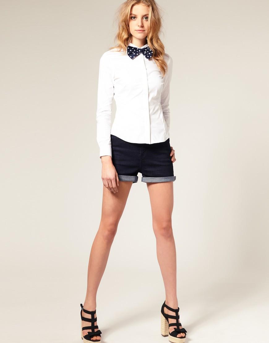 рубашки женские 2018 года модные: белая с бантом
