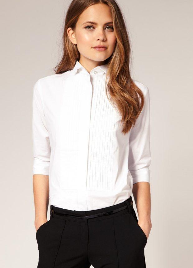 рубашки женские 2018-2019 года: белая с рукавами 3/4