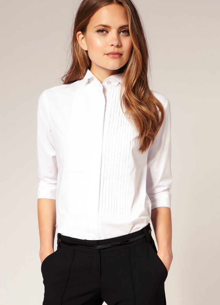 рубашки женские 2018 года: белая с рукавами 3/4