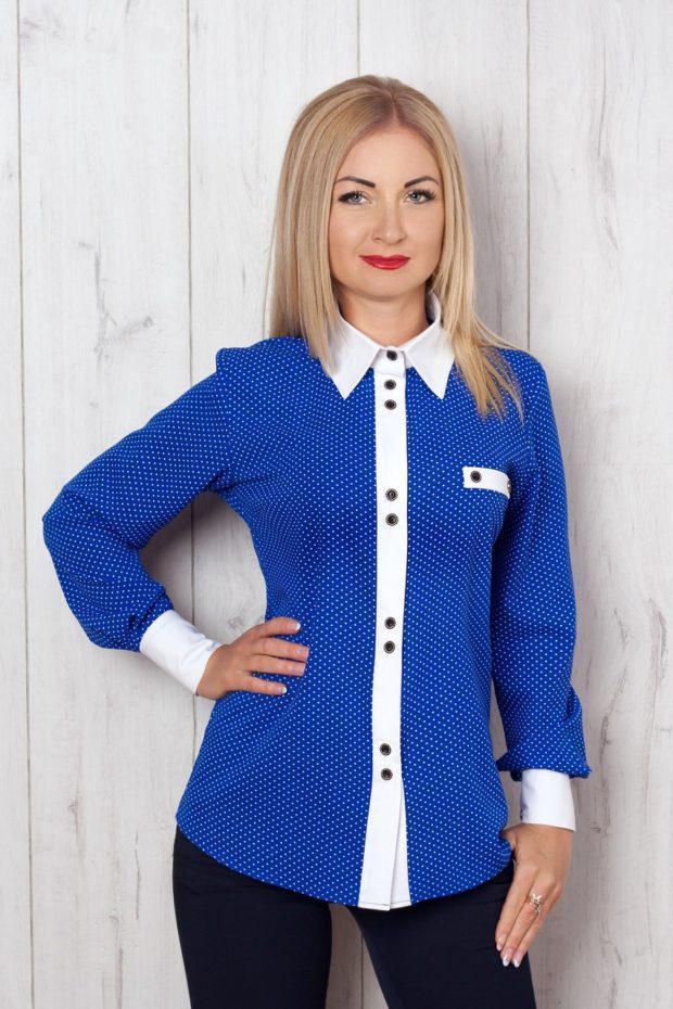 женские рубашки 2019-2020 года: синяя с белой полоской