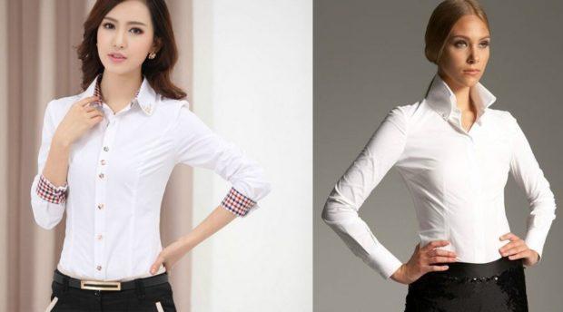 рубашки женские 2018-2019 года: белая с рукавом 3/4 и с длинным рукавом