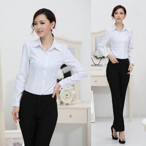 женская модная рубашка: классическая белая