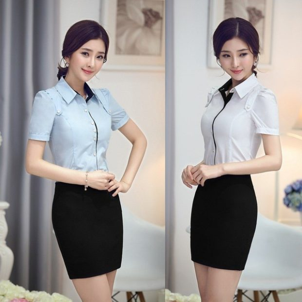 женская модная рубашка: классическая белая с коротким рукавом и голубая