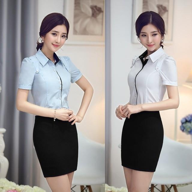 рубашки женские 2018 года: классическая белая с коротким рукавом и голубая