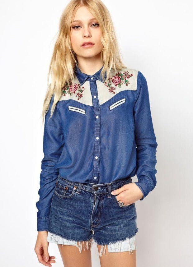 женская рубашка: джинсовая с принтом