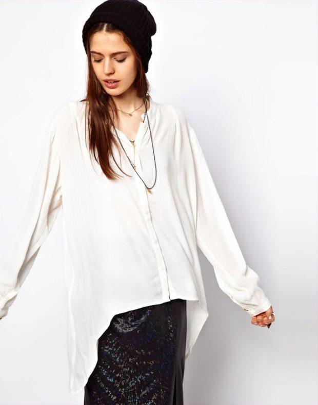 женская модная рубашка: с удлиненной задней частью