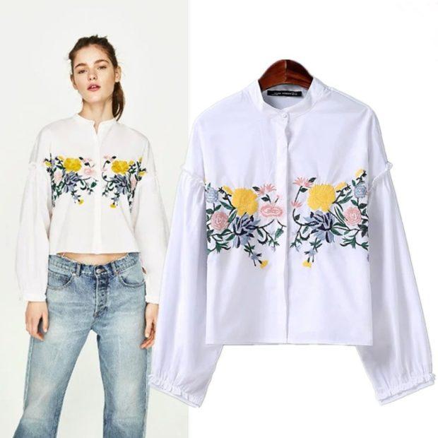 женская модная рубашка: белая с принтом