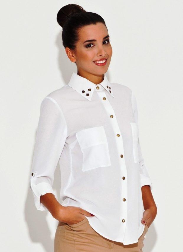 женская модная рубашка 2018-2019: белая с золотыми пуговицами
