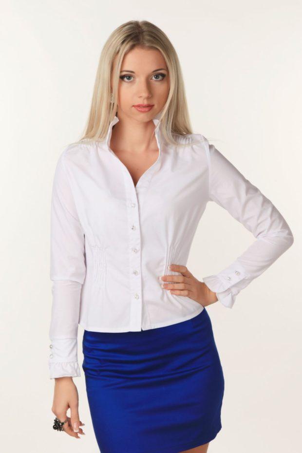 женская модная рубашка 2018-2019: белая