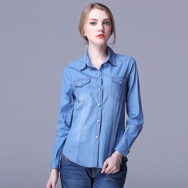 рубашки женские стильные 2018: джинсовая