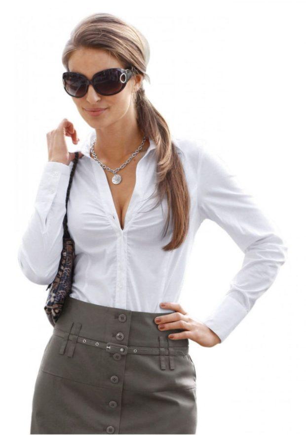 женская модная рубашка 2018-2019: белая с разрезом