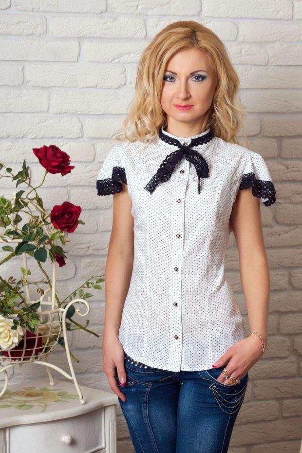 женская модная рубашка 2018-2019: белая в черную точку