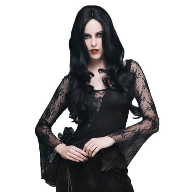 женская модная рубашка: черная кружевная