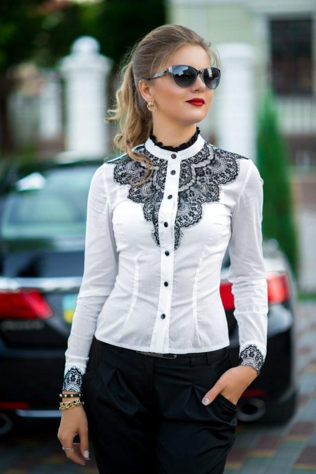 женская модная рубашка: белая с кружевной вставкой
