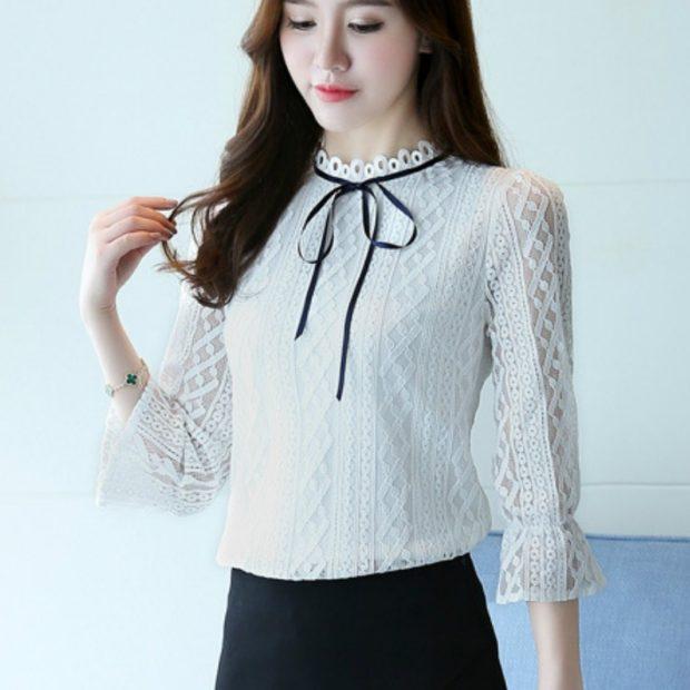 женская модная рубашка: белая кружевная с ленточкой
