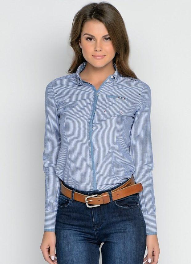 женская модная рубашка: в полоску