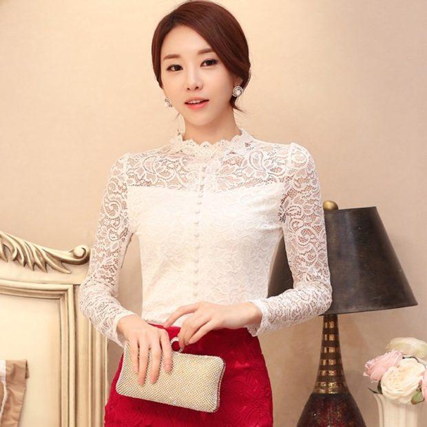 женская модная рубашка: белая кружевная
