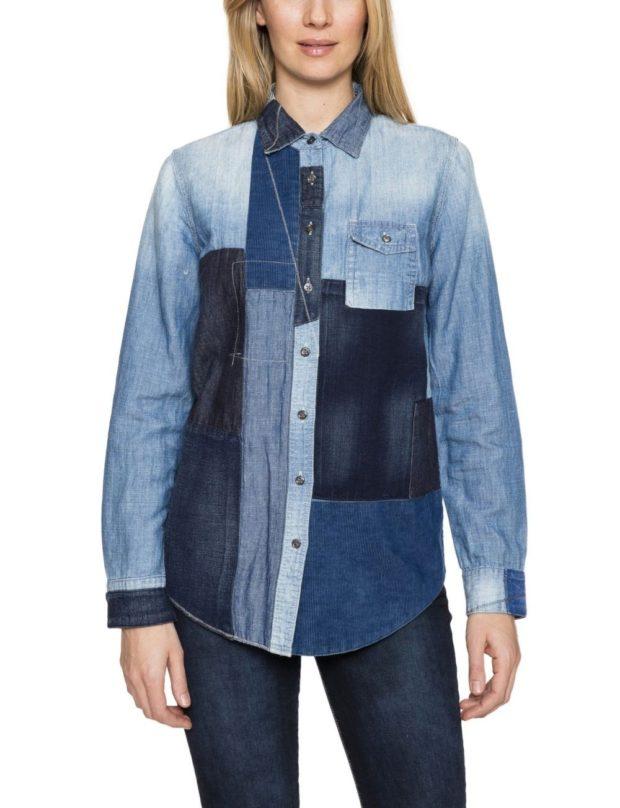 женская модная рубашка: в стиле пэчворк джинсовая