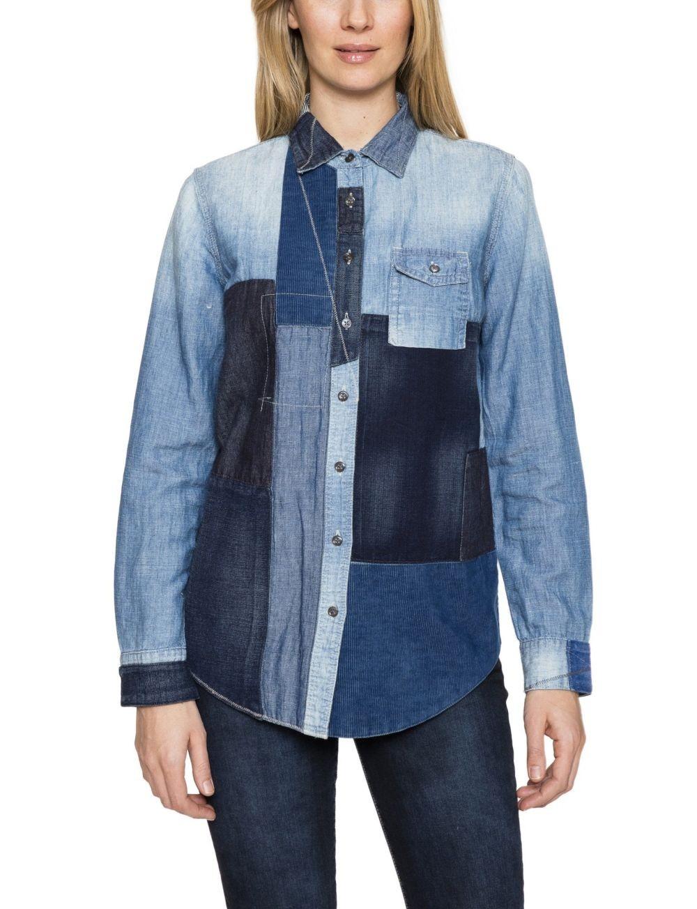 модные рубашки 2018 женские: в стиле пэчворк джинсовая