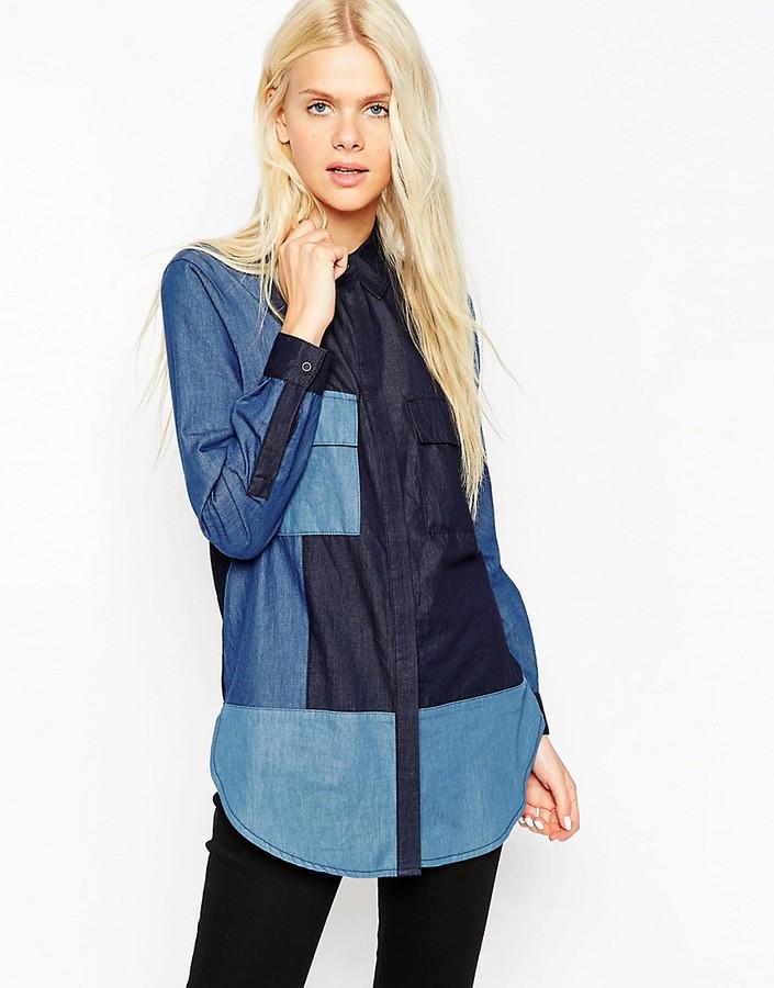 модные рубашки 2018 женские: пэчворк синего цвета